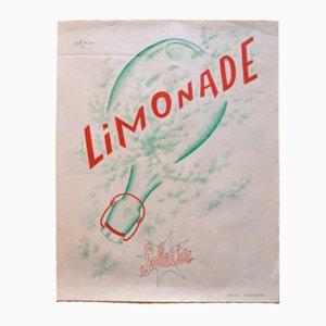 Póster publicitario francés vintage de limonada