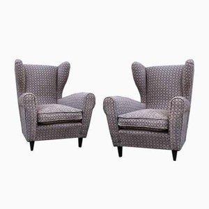Italian Modern Velvet Lounge Chairs by Paolo Buffa, 1950s, Set of 2