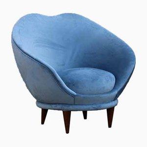 Blaue Samtsessel von Federico Munari, 1950er, 2er Set