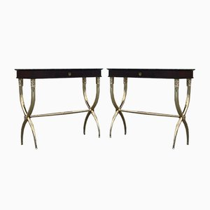 Neoclassical Italian Console Tables in Solid Brass and Rosewood by Paolo Buffa, Set of 2