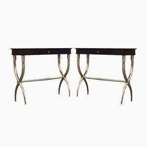 Tables Consoles Néoclassiques en Laiton Massif et Palissandre par Paolo Buffa, Italie, Set de 2