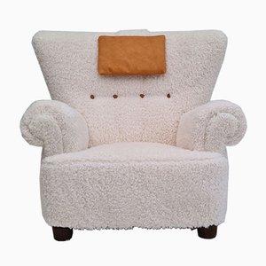 Dänischer Imitation Sessel aus Lammfell, 1950er