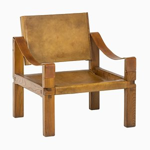 Lounge Armchair in Leather and Elm by Pierre Chapo, 1978