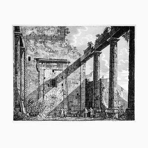Luigi Rossini, Interno del Pronao del Tempio, Etching, 1825