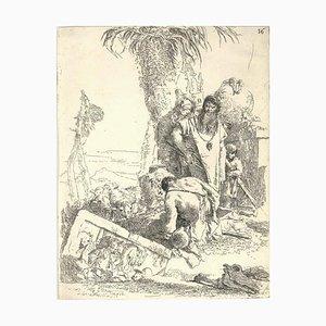 Gianbattista Tiepolo, Pastore con due Maghi, Etching, Mid 18th Century
