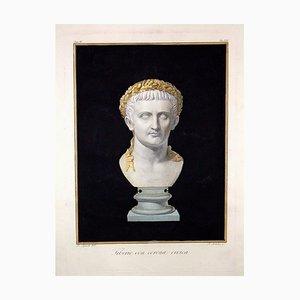 Agostino Tofanelli, Büste des Kaisers Tiberio mit Civic Krone, Radierung, 1794