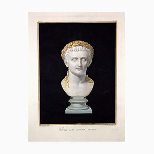 Agostino Tofanelli, Bust of Emperor Tiberio with Civic Crown, Etching, 1794