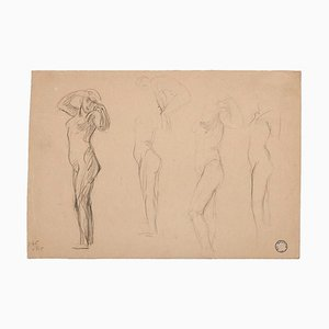 Charles Lucien Moulin, Frauenfiguren, Bleistift, frühes 20. Jahrhundert