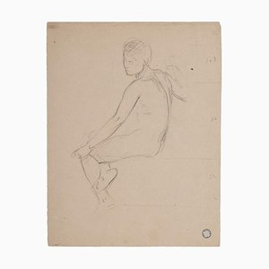 Charles Lucien Moulin, Nude of Woman, Pencil, Early 20th Century