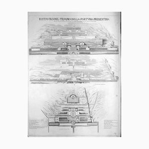 Luigi Rossini, Ristauro del Tempio della Fortuna Prenestina, Etching, 1826