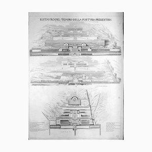 Luigi Rossini, Ristauro del Tempio della Fortuna Prenestina, Radierung, 1826
