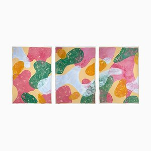 Abstract Botanical Painting, Triptych of Colorful Pastel Flourish Shapes, Paper, 2021