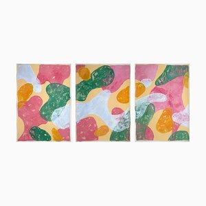 Abstraktes Botanisches Gemälde, Triptychon aus Bunten Pastellfarbenen Formen, Papier, 2021