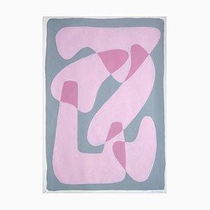 Pastel Pink Figuren, Abstrakte Körperformen auf Grau, Papier, 2021