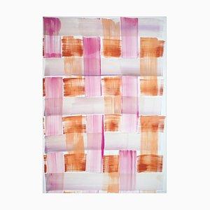 Gemälde von Pink und Orange Brushstroke Grid, Acryl auf Papier, 2021