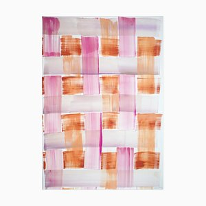 Painting of Pink and Orange Brushstroke Grid, Acrylic on Paper, 2021