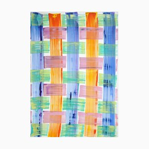Painting of Cold Tones Brushstroke Plaid Pattern, Beach Cabin Inspiration, 2021