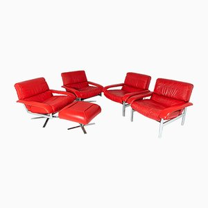 Mid-Century Pieff Gamma Red Leather Tubular Chrome Suite with Swivel Chairs, Armchairs and Footstool, Set of 5