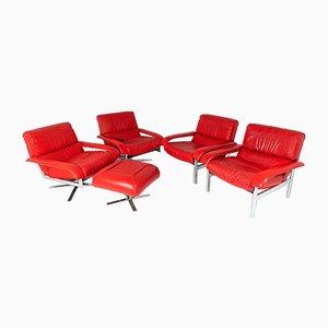 Suite Pieff Mid-Century in metallo cromato e tubolare di Chrome con sedie, poltrone e poggiapiedi, set di 5