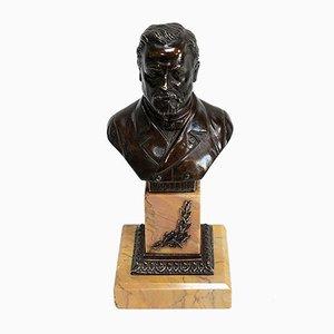 Bronze Büste von Louis Pasteur von S. Omerth, 19. Jahrhundert