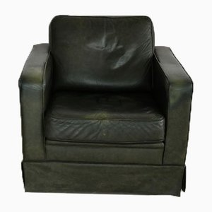 Vintage Green Leather Club Chair