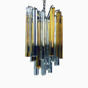 Italian Murano Glass Crystal Prism Cascade Chandelier from Venini, 1960s