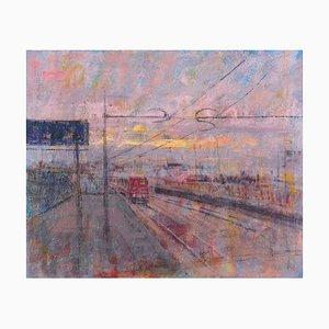 Renato Criscuolo, Train, Öl auf Leinwand