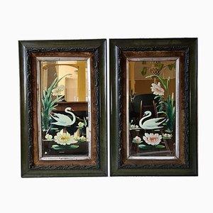 Miroirs Peints Vintage avec Cadres, Set de 2