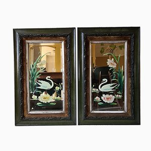 Vintage Painted Mirrors in Frames, Set of 2
