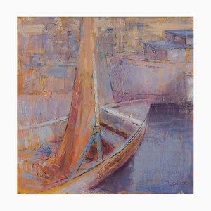 Renato Criscuolo, Boote, Öl auf Leinwand