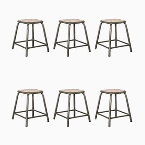 Khaki Army Stools from Mullca, 1960s, Set of 12