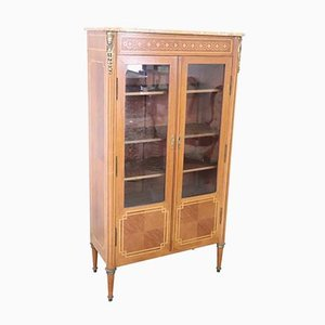 Vintage Inlaid Walnut and Golden Bronze Showcase Cabinet, 1950s