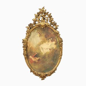Oval Painting with Carved and Gilded Wooden Frame