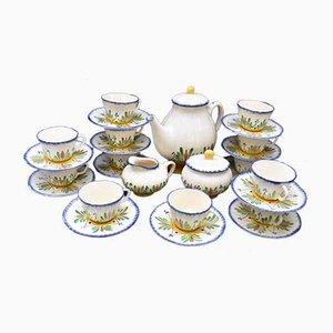 Französischer Steingut Kaffee oder Tee Service von Longchamps, 15er Set