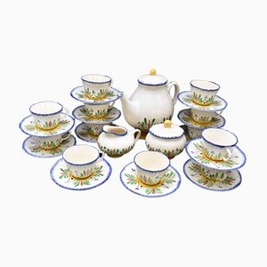 French Earthenware Coffee or Tea Service from Longchamps, Set of 15