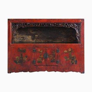 Antiker rot lackierter Qinghai Vitrinenschrank