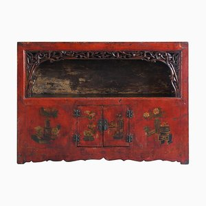 Antique Qinghai Red Lacquered Display Cabinet