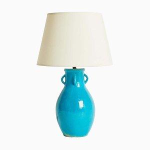 Vintage Turquoise Table Lamp by Primavera for Ceramiques d'Art de Bordeaux