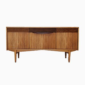 Vintage Bowed Teak and Fruitwood Sideboard