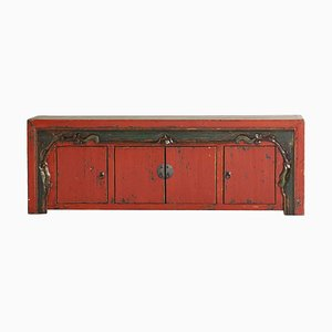 Antique Cinnabar Lacquer Low Sideboard