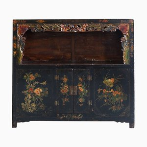 Vintage Black Lacquered Display Cabinet