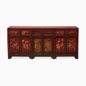 Antique Red Lacquered Mongolian Buffet