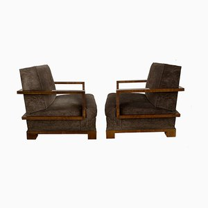Italian Art Deco Walnut Veneer Armchairs by Osvaldo Borsani for RACI, 1930s, Set of 2