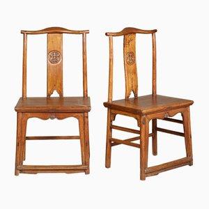 Antike Beistellstühle mit Joch-Rückenlehnen, 2er Set