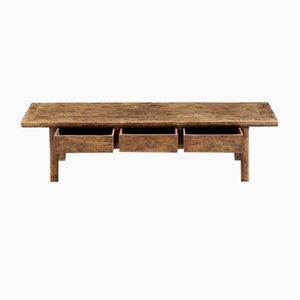 Antiker Niedriger Tisch aus Ulmenholz mit 3 Schubladen