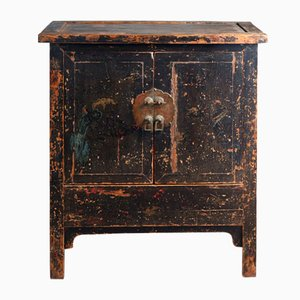 Antique Black Lacquered Side Cabinet