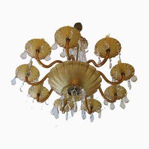 Großer venezianischer Bernsteingelber Kronleuchter aus Muranoglas & Messing mit 8 Leuchten, 1960er