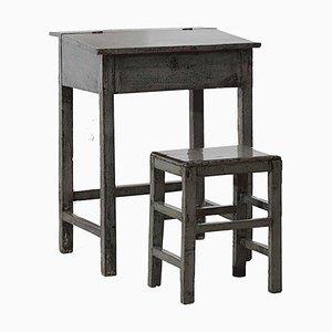 Bureau Antique Gris Laqué et Tabouret, Set de 2
