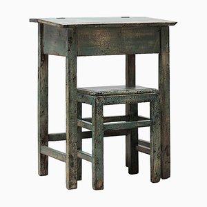 Antiker Lackierter Schreibtisch & Hocker, 2er Set