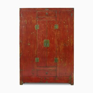 Antique Qinghai Red Lacquer Cabinet